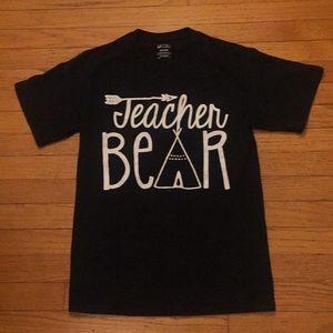 Port and Company Black Tee w/ Teacher Bear SZ S